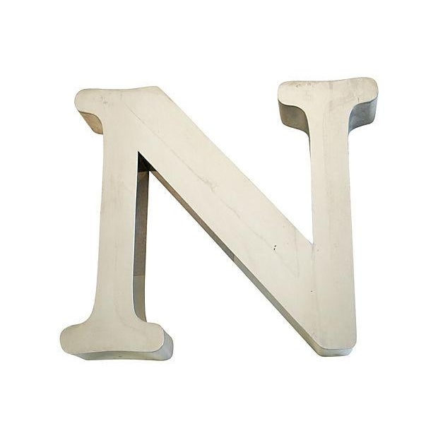 Vintage 1970s Stainless Steel Marquee Letter 'N' - Image 1 of 4