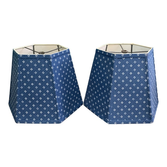 Printed Fabric Lampshades Shades- a Pair For Sale
