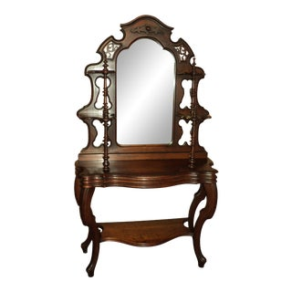 1880s Antique Walnut American Victorian Mirrored Etagere For Sale
