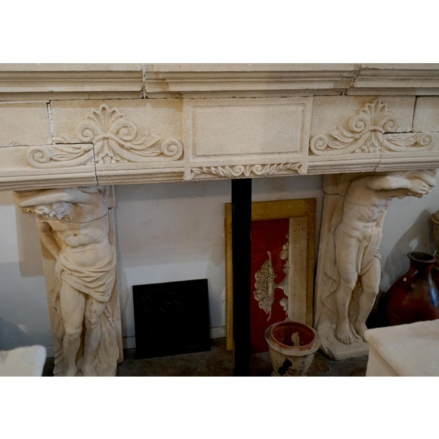 French French Limestone Mantel Atlas Atlantes For Sale - Image 3 of 6