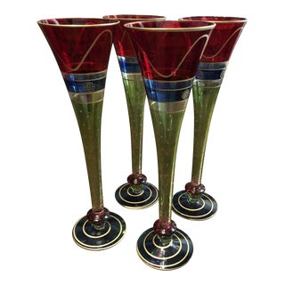 1990's Pottery Barn Colorful Swirl Champagne Glasses - Set of 4