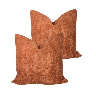 "22"" Cognac Textured Linen Velvet Down Pillows - a Pair For Sale"