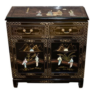 1970's Vintage Asian Hand Painted Cabinet For Sale