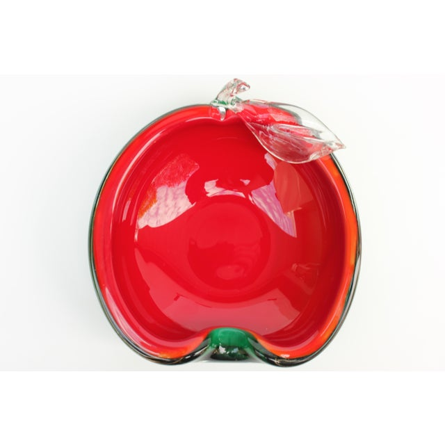 Red and Green Apple Murano Bowl - Image 5 of 5