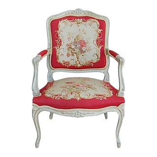 Vintage French Louis XV-Style Needlepoint Chair For Sale