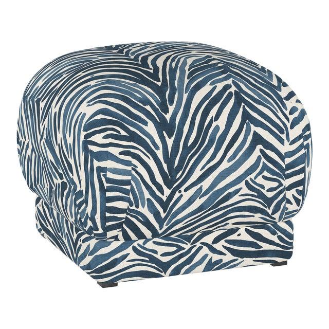 Ottoman, Washed Zebra Blue For Sale