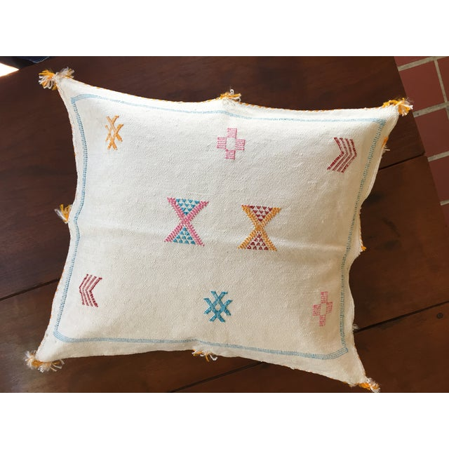 White Moroccan Sabra Cactus Silk Pillow Cover - Image 3 of 4
