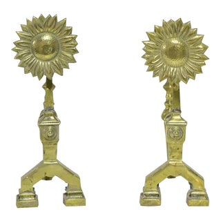 A Pair of Sunflower Fire Tool Holders For Sale