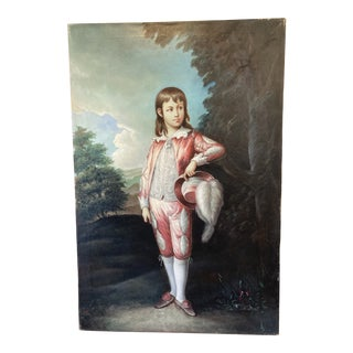 "Neoclassical ""French Boy"" Signed Oil Painting For Sale"