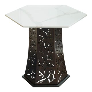 Carrara Marble-Topped Side Table by Gregory Clark For Sale