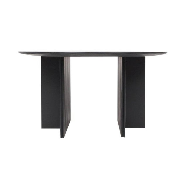 Round dining table in a black leather upholstery with a sculptural base consisting of two elements.
