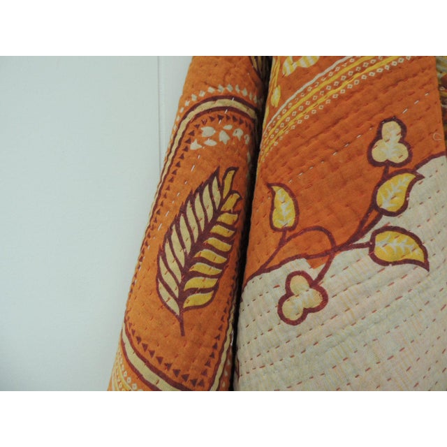 1980s Vintage Orange and Red Hand Quilted Indian Throw For Sale - Image 5 of 8