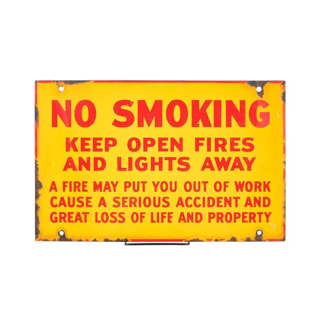 """Antique Yellow Porcelain """"No Smoking"""" Sign For Sale"""