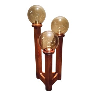 Mid Century Modern Three 3 Light Globe Table Lamp W/ Wooden Pillar Base For Sale