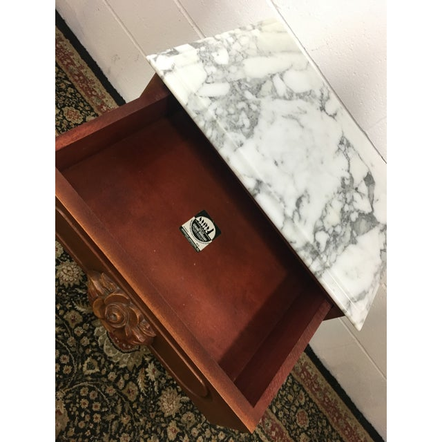 Antique Mahogany Marble Top Harp Side Table - Image 5 of 8