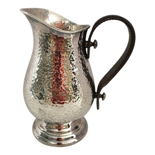 Plata Lappas Silver Hand Hammered Silver Pitcher For Sale