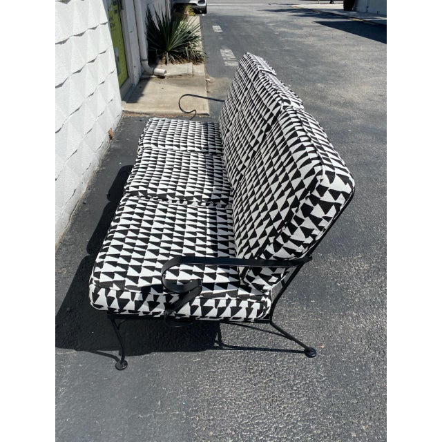 Black Mid Century Russel Woodard Sofa With Outdoor Upholstery For Sale - Image 8 of 9