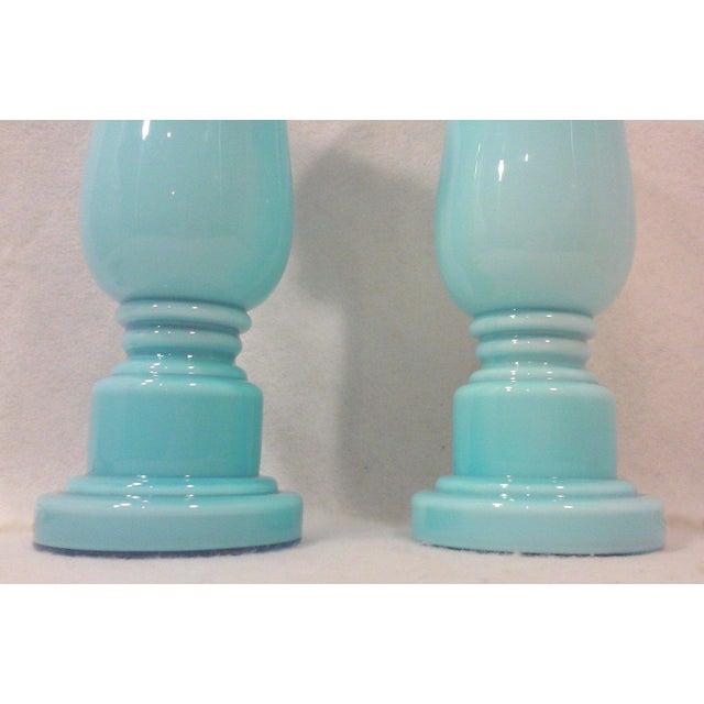 Czech Art Deco Opaline Blue Accent Lamps - Pair - Image 3 of 3