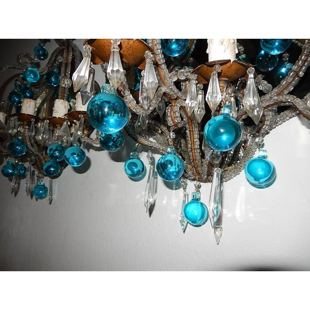 French Micro Beaded Mirror Aqua Blue Murano Drops Sconces For Sale - Image 4 of 10