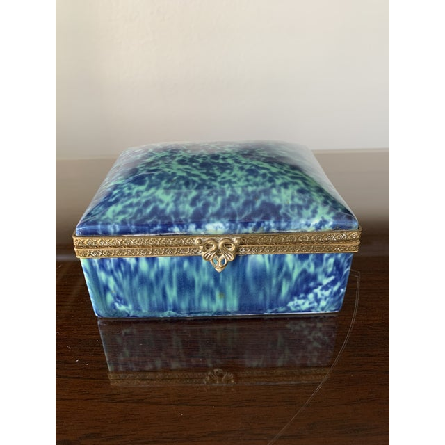 Vintage Blue Fine China Box With Gold Trim For Sale - Image 12 of 12