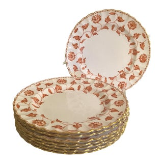 "English Spode Red Colonel Porcelain Salad Plates 8"" Scalloped Gold Trim Set of 8 For Sale"