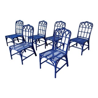 Set of Six Vintage McGuire Bamboo Cathedral Dining Chairs For Sale