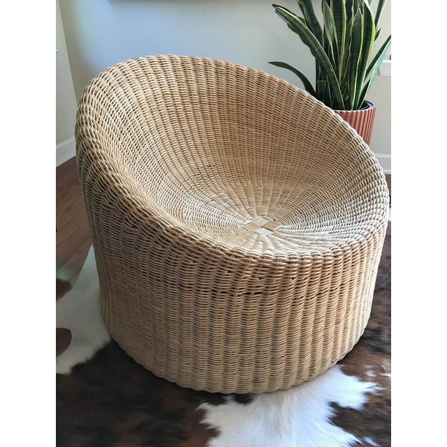 Eero Aarnio Mid Century Modern Wicker Lounge Chair and Ottoman For Sale In Nashville - Image 6 of 11