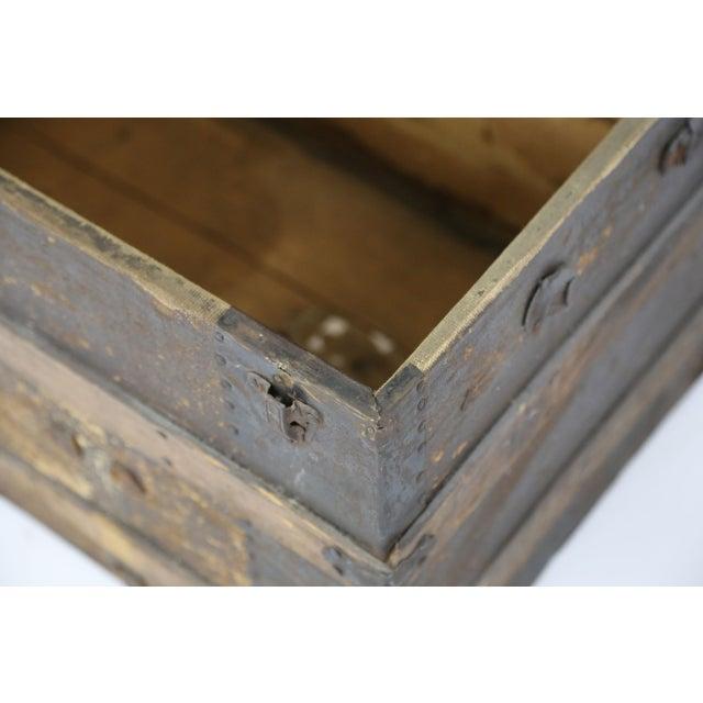 Large Antique Hardwood Steamer Trunk For Sale - Image 9 of 11