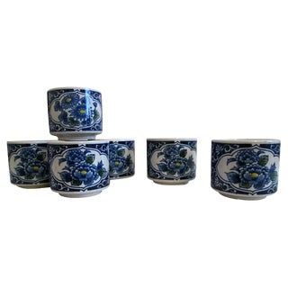 1970s Vintage Blue and White Stoneware Lotus Flower Teacups - Set of Six For Sale