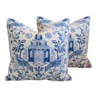 "Blue & White Chinoiserie Feather/Down Pillows 26 "" Square"" -Pillows For Sale"