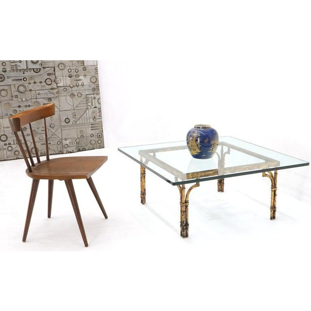 Faux Bamboo Gold Gilt Frame Square Glass Top Coffee Table For Sale - Image 4 of 12