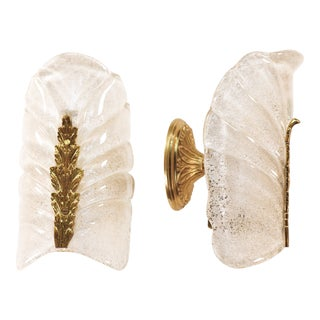 Pair of 20th Century Murano Glass Leaf Sconces For Sale