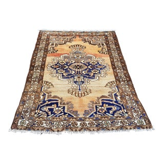 1960s Vintage Anatolian Handmade Wool Rug-4′ × 5′1″ For Sale
