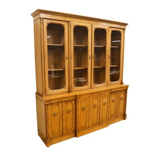 """20th Century Italian Century Furniture Neoclassical Tuscan 73"""" Buffet With Lighted China Cabinet Preview"""