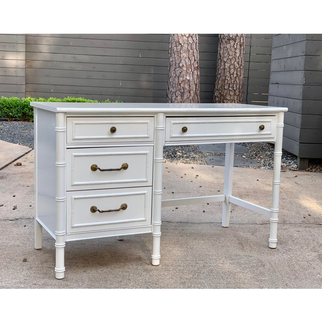 1970s 1970s Hollywood Regency Thomasville Allegro Faux Bamboo Writing Desk For Sale - Image 5 of 12