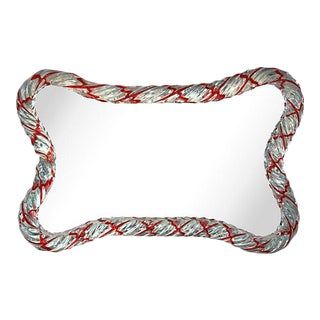 Candy Cane Murano Mirrored Tray For Sale