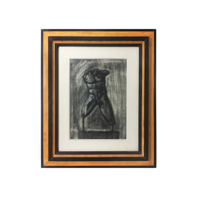 """Charcoal drawing on paper of a male torso statue. Signed """"Vasso Vlastou"""" on reverse. DETAILS: Dimensions: 19.5""""W x 1.5""""D x..."""