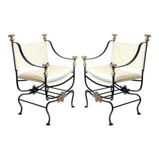 1900s Savonarola Iron & Upholstery Chairs – a Pair For Sale