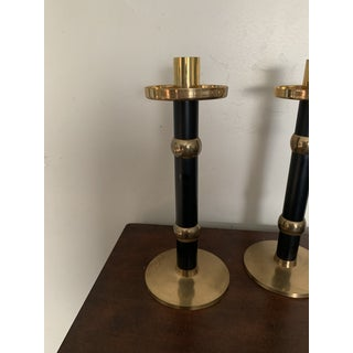 Modern Solid Brass Black and Gold Candlesticks - a Pair Preview