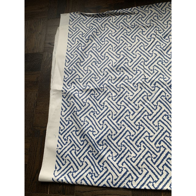 1.9 Yards Quadrille Java Grande Blue Laminated Fabric For Sale - Image 4 of 8