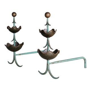 1950s Mingazzi Italian Andirons - a Pair For Sale