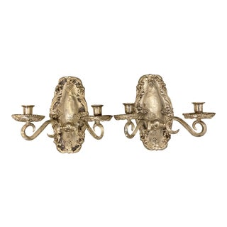1920's Caldwell Silver Plated Sconces - a Pair For Sale