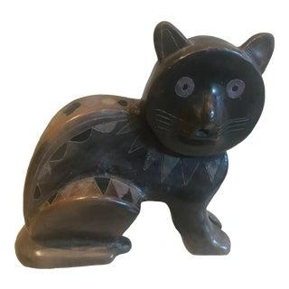 Mexican Mid Century Ceramic Cat Sculpture For Sale