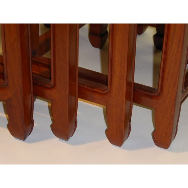 1970s 1970s Vintage Baker Far East Collection Style Teak Nesting Tables - Set of 4 For Sale - Image 5 of 12