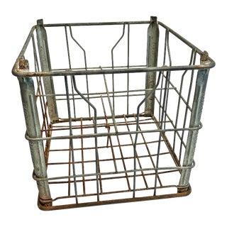 Vintage Industrial Wire Metal Crate