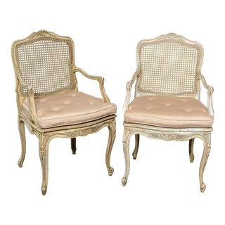 Pair French Louis XV Chairs With Caned Back & Seat