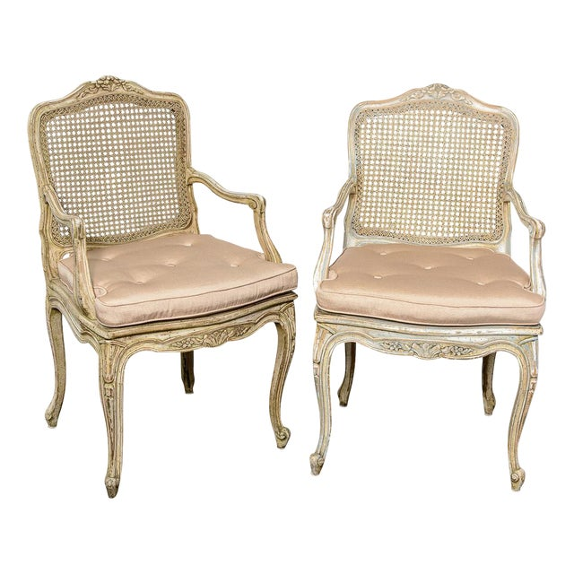 Pair French Louis XV Chairs With Caned Back & Seat For Sale