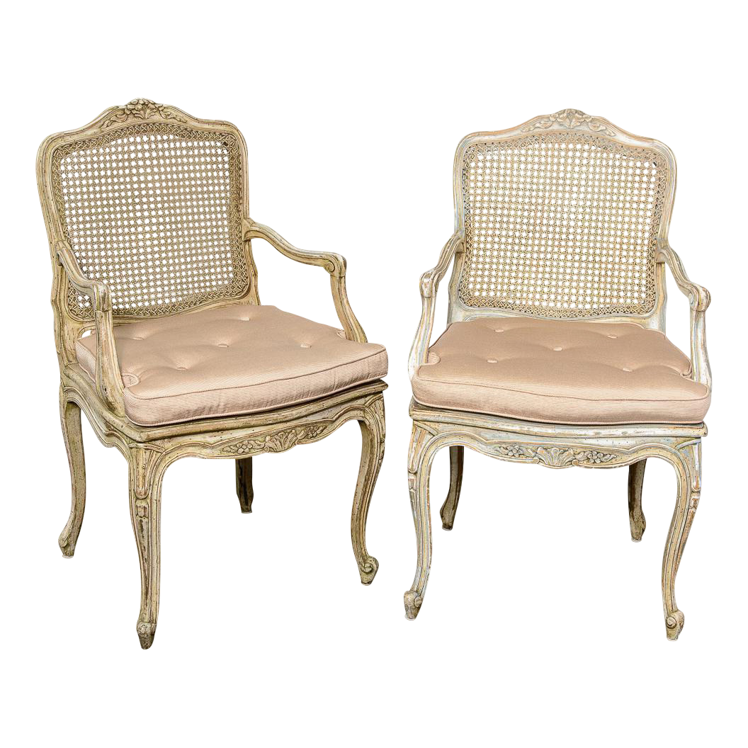 Pair French Louis XV Chairs With Caned Back U0026 Seat For Sale