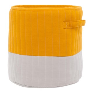 "Organic Cotton Mod Quilted Storage Basket Orange/Gray | 13"" X 12"" For Sale"