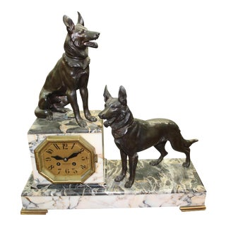 1940s Large French Art Deco Two Dog Sculpture Clock For Sale